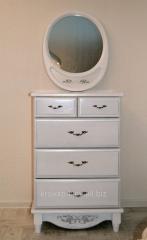 Dresser white wooden with a mirror