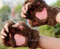 Brown pads of a glove