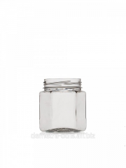PET jar six-sided, diameter of a mouth is 61,5 mm,