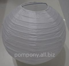 The sphere is decorative, white, diameter is 25 cm