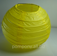 The sphere is decorative, yellow, diameter is 15