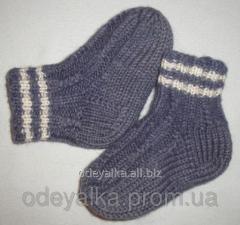 Носки детские вязаные шерстяные ручной работы
