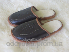 Slippers leather man's on fur