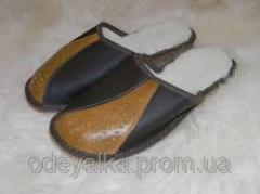 Slippers from genuine leather and wool 36-45 of
