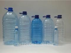 Bottles of PET, 0.5, 1, 5, 7, 10 l