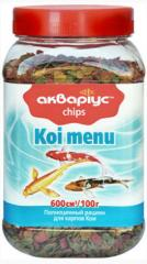 Forage for fishes Akvarius, Which menus - chips,