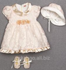 Комплект платье шапочка туфельки для девочки