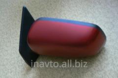 Зеркало левое в сборе красное (б/у: склол пластика