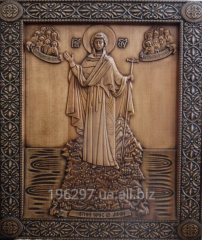 Icon carved wooden, wood carving