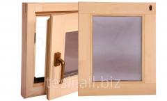 Windows for a bath and a sauna, false windows,