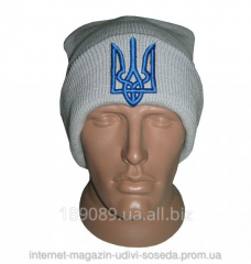 Серая шапка с украинской символикой Герб
