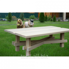 Table wooden in a garden, garden little tables
