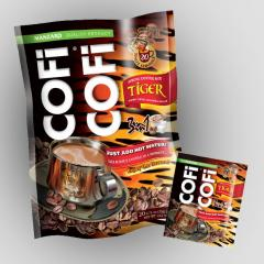 Coffee with cream. COFICOFI Tiger. Instant coffee