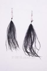 Серьги Jewelry черное перо 30