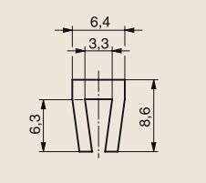 Профиль скольжения П-образный 8,7х6,3 211310007