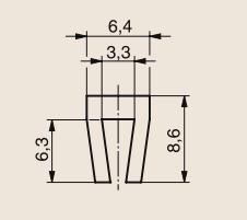 Sliding profile P-shaped 8,7x6,3 211310007