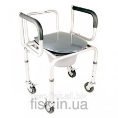 Алюминиевый стул-туалет с откидным подлокотником на колесах
