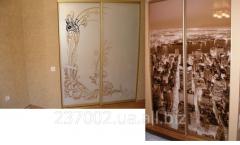Фасад зеркало, зеркало сатин МДФ, бамбук, пластик,
