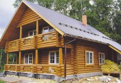 Большой жилой дом в сруб из оцилиндрованного бруса