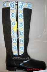 Резиновые сапоги Valex 4671-16 чер сукно орнамен