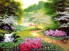 Схема для вышивки бисером Цветущий парк 2 Код