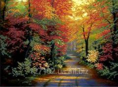 Схема для вышивки бисером Осенний парк Код товара