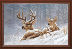 The scheme for beadwork Deer in the winter wood