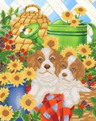 The scheme for beadwork Puppies in the garden