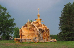 Construction of wooden churches and temples across