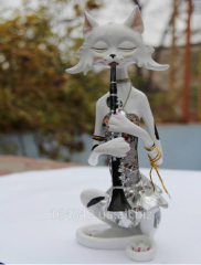 Cat white with a flute