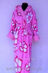 Халат махровый женский Розовый и белая ромашка