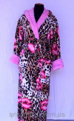 Халат махровый женский Леопардовый короткий