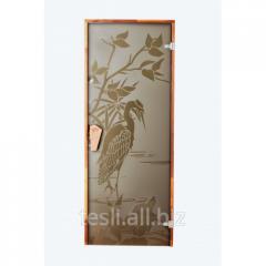 Glass door for a sauna and a hammam