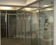 Перегородка прозрачная офисная из алюминиевого