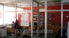Перегородка стационарная офисная из алюминиевого