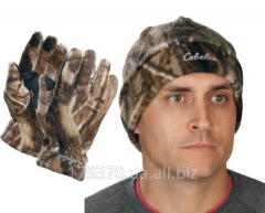 Gloves and cap hunting Cabela's Camo Polar-Weight Fleece Gloves/Hat Comb
