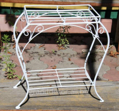The little table is metal decorative