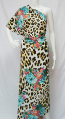Chiffon K4193 print blue roses and leopard got