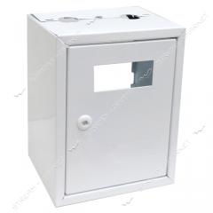 Ящик металл под газовый счетчик ВхШхГ: 330*370*210 белый без задней стенки 012266