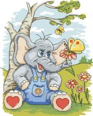 Elephant and butterflies Rkan 4011