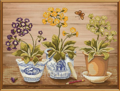 Set for an embroidery Spring primroses of NND 1042