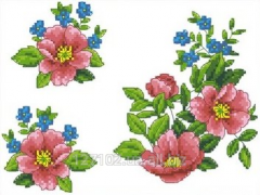 The scheme for an embroidery dogrose Flowers.