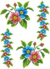 The scheme for an embroidery Flowers-2. Flizelin