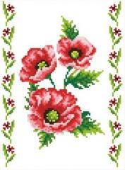The scheme for an embroidery Poppies-2. Flizelin