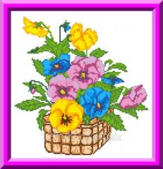 Bast basket with KTK violets - 4003