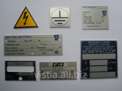 Plates information for machines and the equipmen
