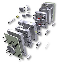 Standard component parts for compression molds and