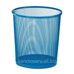 The wastepaper basket is round, metal, blue