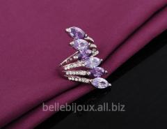 Кольцо с платиновым покрытием и фиолетовыми