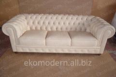 Кожаный мягкий диван Честер в классическом